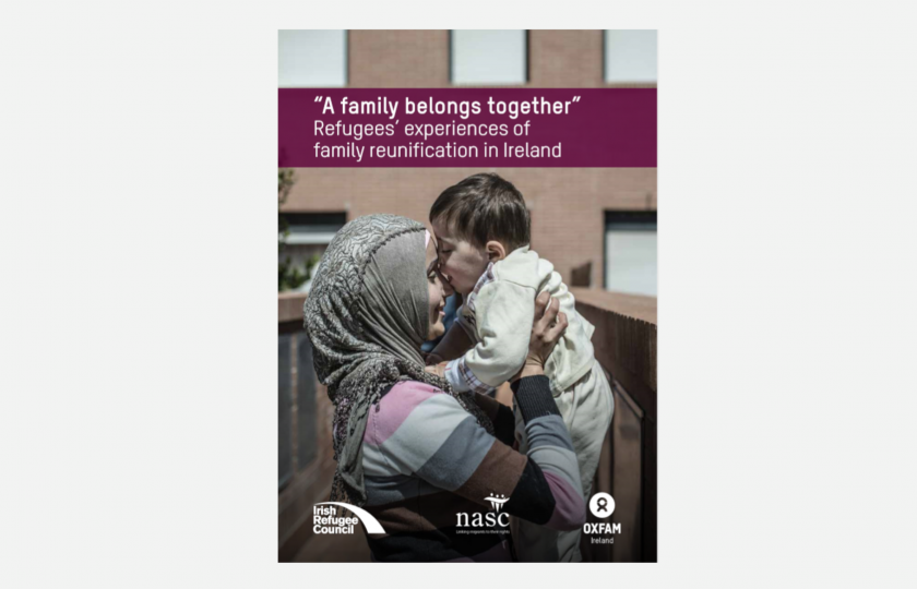 A family belongs together report cover - young woman lifting and huffing a child
