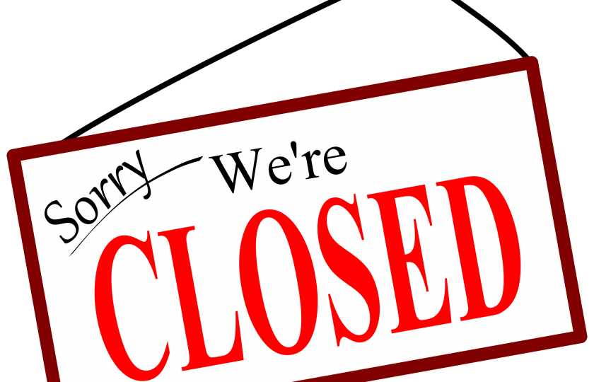 'Sorry we are closed' sign